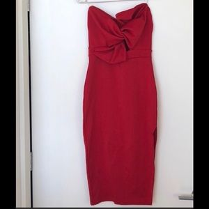 Pretty Little Thing Red strapless bow dress